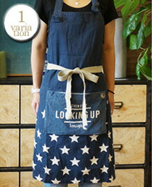 AND PACKABLE APRON Star Navy 約80×80 cm