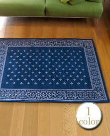 cross bandanna rug Navy 160×120cm 【1color】