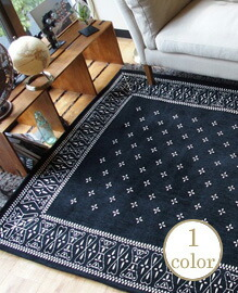 Cross Bandanna Rug Black 200×200cm 【1color】
