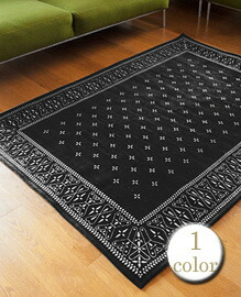 Cross Bandanna Rug Black 200x140cm 【1color】