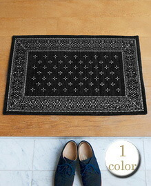 Cross Bandanna Rug Black 80x50cm 【1color】