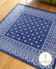 flower bandanna rug NAVY 200×200cm 【1color】