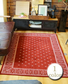 cross bandanna rug Burgundy 200×140cm 【1color】