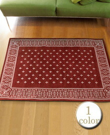 cross bandanna rug Burgundy 160×120cm 【1color】