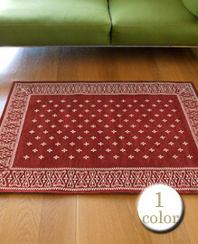 cross bandanna rug Burgundy 140×100cm 【1color】