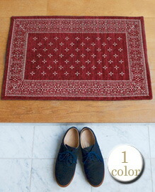 cross bandanna rug Burgundy 80×50cm 【1color】