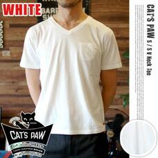 S/S V-NECK T-SHIRT ホワイト CAT'S PAW
