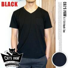 S/S V-NECK T-SHIRT ブラック CAT'S PAW