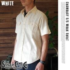 WHITE CHAMBRAY S/S WORK SHIRT SUGAR CANE