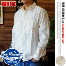 WHITE CHAMBRAY LONG SLEEVE WORK SHIRT BUZZ RICKSON'S