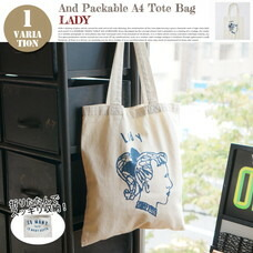 AND PACKABLE A4 TOTE BAG LADY 約40×36 cm