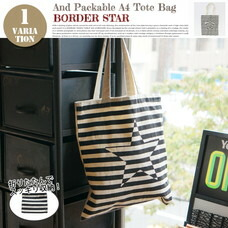 AND PACKABLE A4 TOTE BAG BORDER STAR 約40×36 cm