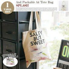 AND PACKABLE A4 TOTE BAG SPLASH 約40×36 cm