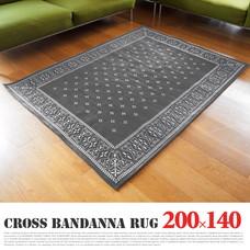 Cross Bandanna Rug 200×140cm Gray 【1color】