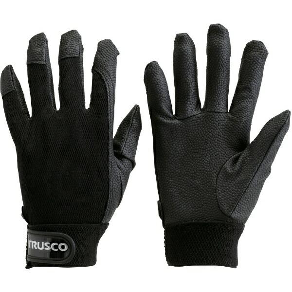 トラスコ中山PU厚手手袋LサイズブラックTPUGBL