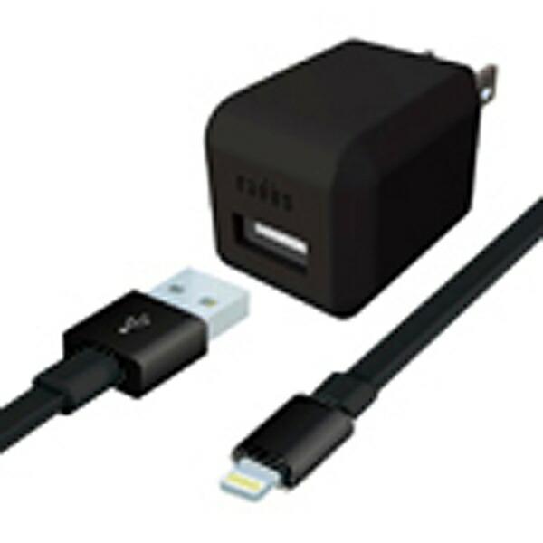 ラディウスradiusAC充電器+Lightningケーブル0.8mブラックAL-ADA61K[USB給電対応/1ポート][ALADA61K]