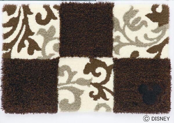 スミノエSUMINOE玄関マットミッキー/チェッカーボード(50×80cm/ブラウン)【日本製】[DMM402750X80]