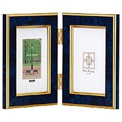 ナカバヤシNakabayashi樹脂製写真立「マーブル(大理石調)」(L判タテ+L判タテ/ブルー)フ-TP-151-B[フTP151B]