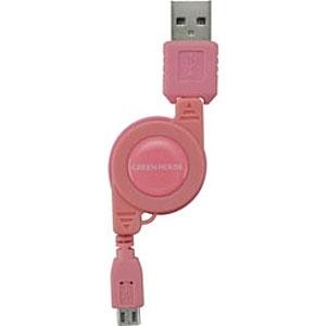 グリーンハウスGREENHOUSE[microUSB]ケーブル充電(リール12〜78cm・ピンク)GH-UCRMB-PK[0.12~0.78m][GHUCRMBPK]