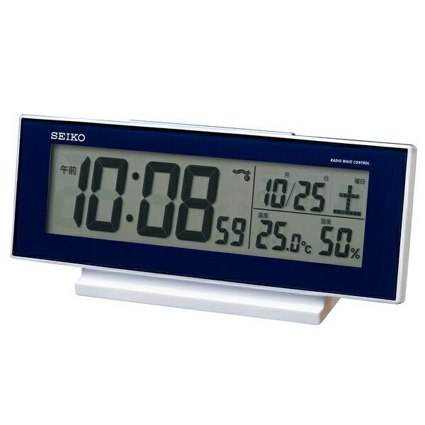 セイコーSEIKO目覚まし時計濃青メタリックSQ762L[デジタル/電波自動受信機能有]