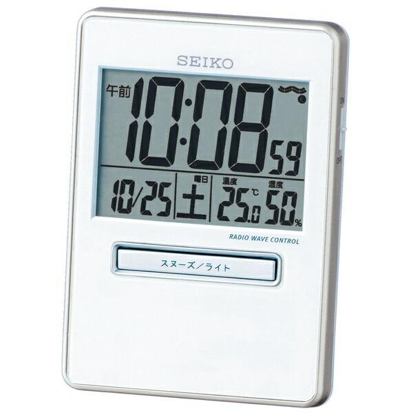セイコーSEIKO目覚まし時計【トラベラ】白パールSQ699W[デジタル/電波自動受信機能有][SQ699W]