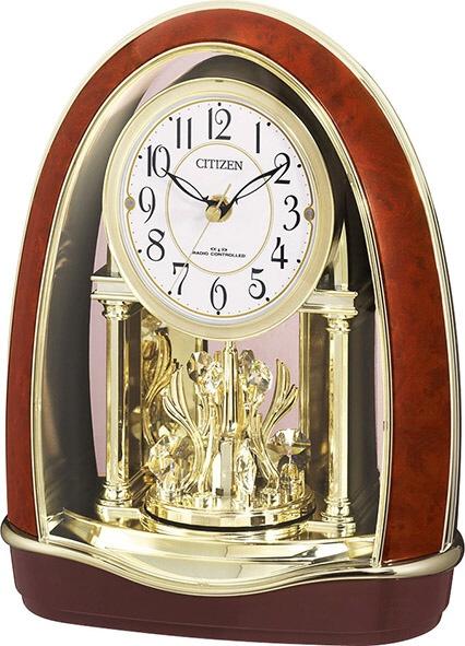 リズム時計RHYTHM置き時計【パルドリームR414】茶色木目4RN414-023[電波自動受信機能有][4RN414023]