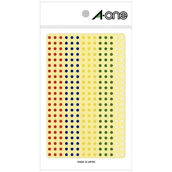 エーワンA-oneカラーラベルアソートタイプ赤・青・黄・緑・白07694[はがき/3シート/336面/光沢]【rb_mmmg】