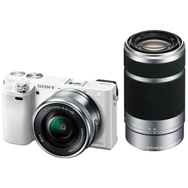 ソニーSONYILCE-6000Y-Wミラーレス一眼カメラα6000ホワイト[ズームレンズ+ズームレンズ][ILCE6000YW]