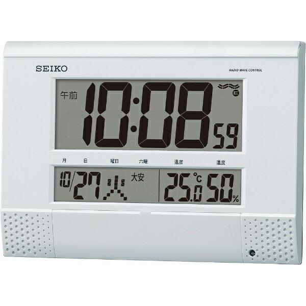 セイコーSEIKO掛け置き兼用時計【プログラムクロック】白パールSQ435W[電波自動受信機能有][SQ435W]