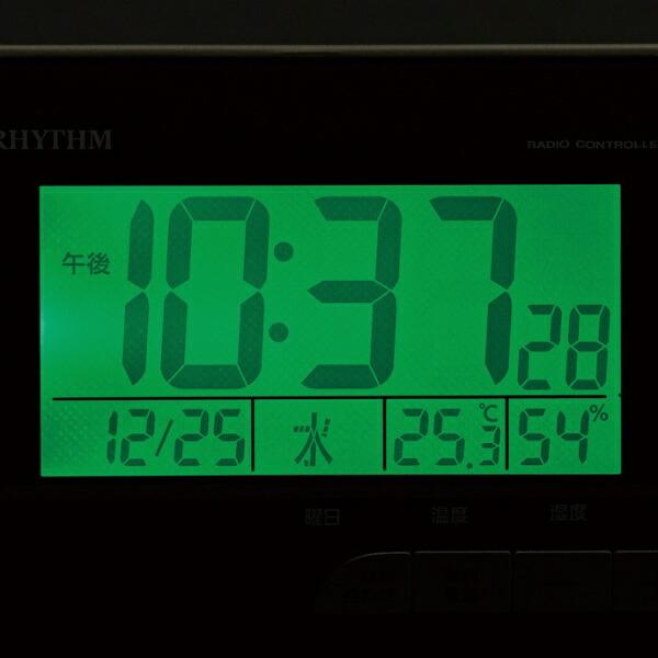 リズム時計RHYTHM目覚まし時計【フィットウェーブD165】茶8RZ165SR07[デジタル/電波自動受信機能有]