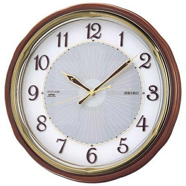 セイコーSEIKO掛け時計【ソーラープラス】茶木地SF221B[電波自動受信機能有]