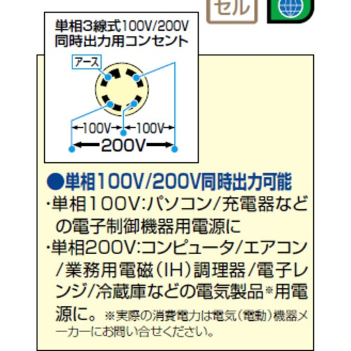 やまびこYAMABIKO単相100V/200V新ダイワインバータ発電機5.5KVAIEG5500M−Y【メーカー直送・代金引換不可・時間指定・返品不可】