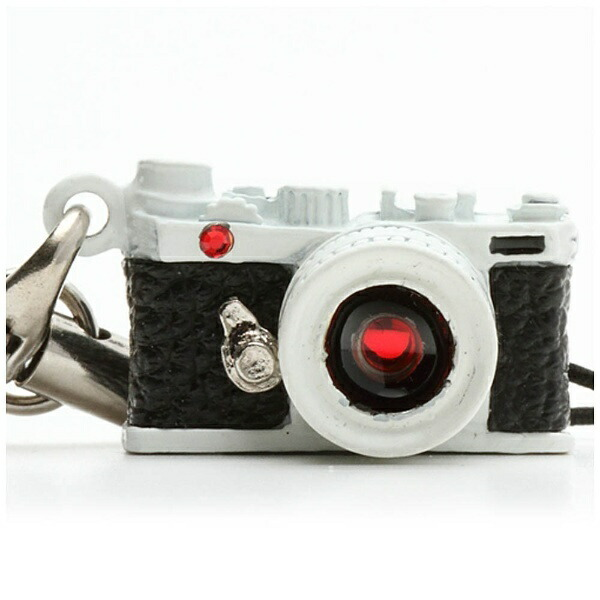 ジャパンホビーツールJapanHobbyToolミニチュアカメラストラップレンジファインダータイプホワイト/レンズスワロフスキー