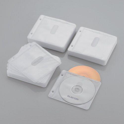 エレコムELECOM240枚収納Blu-ray・CD・DVD対応不織布ケース2穴(ホワイト)CCD-NBWB240WH[CCDNBWB240WH]