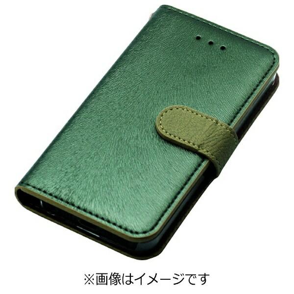 ROAロアiPhoneSE(第1世代)4インチ/5s/5用CALFDiaryフォレストグリーンHANSMAREHAN7606i5seスタンド機能ポケット・ストラップホール付
