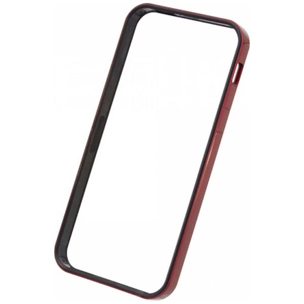 パワーサポートPOWERSUPPORTiPhoneSE(第1世代)4インチ/5s/5用フラットバンパーセットメタリックレッドPSE-44液晶保護フィルム・背面フィルム付