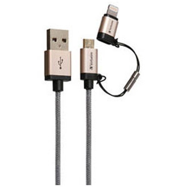 Verbatimバーベイタム[microUSB+ライトニング]USBケーブル2.4A(1.2m・ゴールド)MFi認証64830B[1.2m]