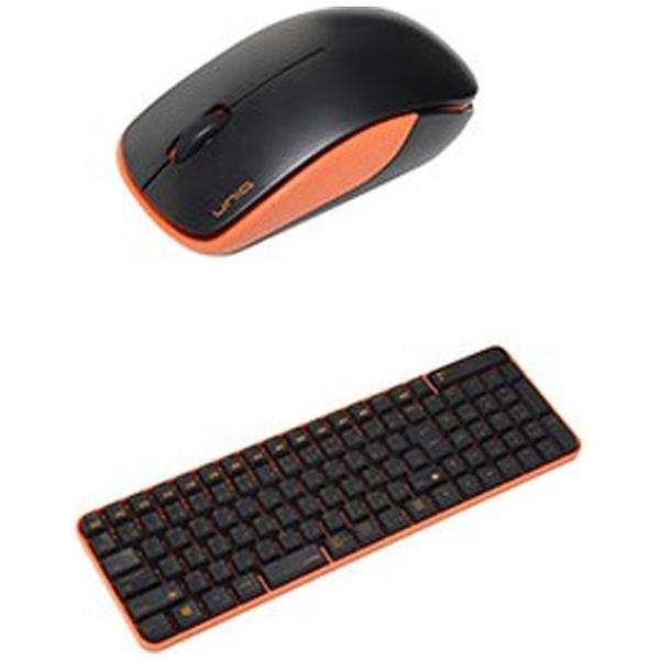 UNIQユニークMK48367GBOワイヤレスキーボード・マウスブラック・オレンジ[USB/ワイヤレス][MK48367GBO]