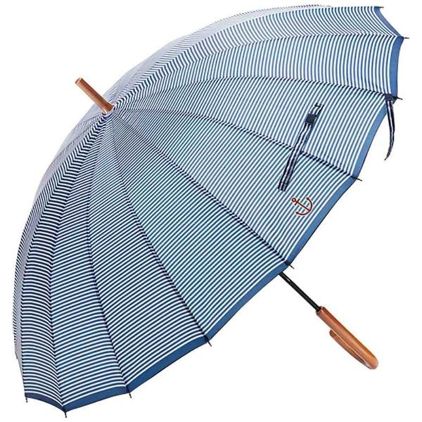 ウォーターフロントWaterfront【傘】レディース長傘16本骨マリンボーダーF16MB-1L55-UH55cm【色指定不可】