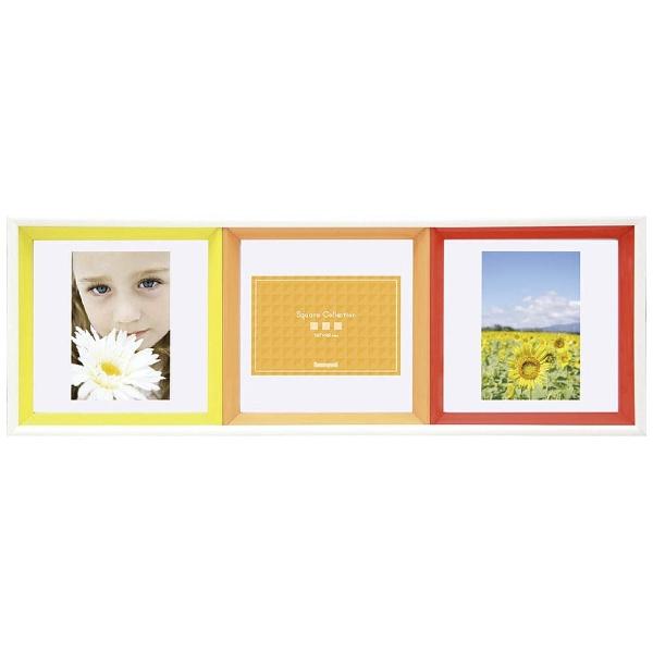 ナカバヤシNakabayashiスクエアコレクションL判3面正方形フレーム(オレンジ)フ-TP-220-OR[フTP220OR]