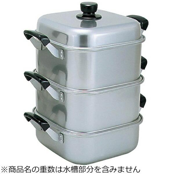 アカオアルミAKAOALUMINUM《IH非対応》アルマイト角型蒸し器26cm二重<AMS71262>[AMS71262]
