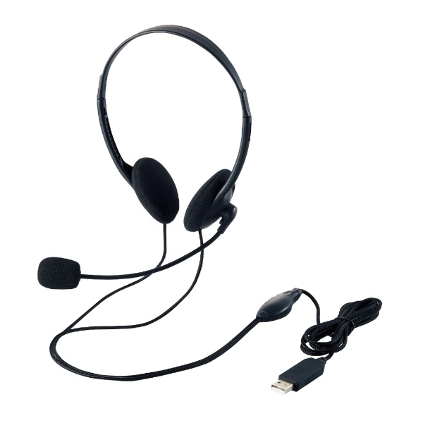 エレコムELECOMヘッドセットブラックHS-HP27UBK[USB/両耳/ヘッドバンドタイプ][HSHP27UBK]