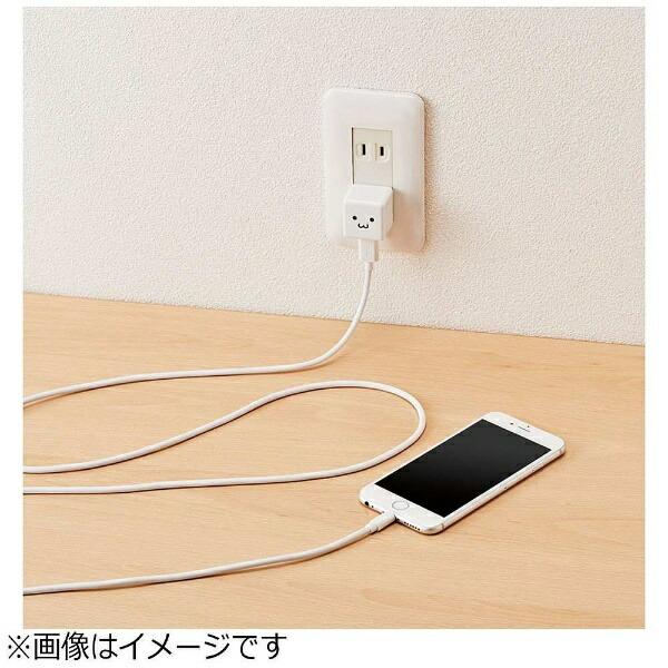 エレコムELECOMAC充電器+Lightningケーブル2.5mホワイトフェイスLPA-ACUAS255WF[USB給電対応/1ポート]