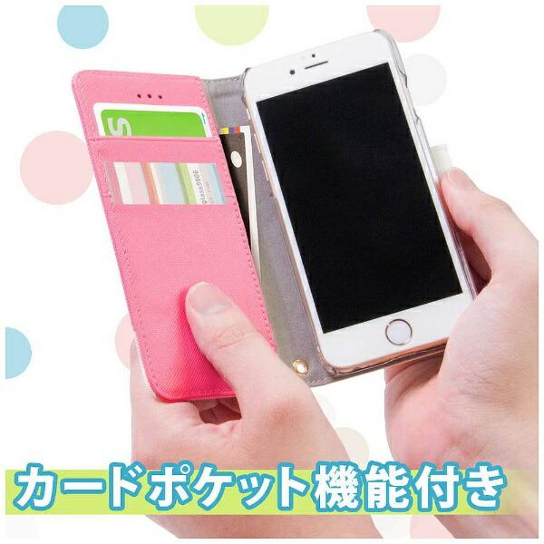 OWLTECHオウルテックiPhone7Plus用kuboq手帳型ケースPUカードポケット付スタンド機能ピンクxホワイトOWL-CVIP7P04-PKW