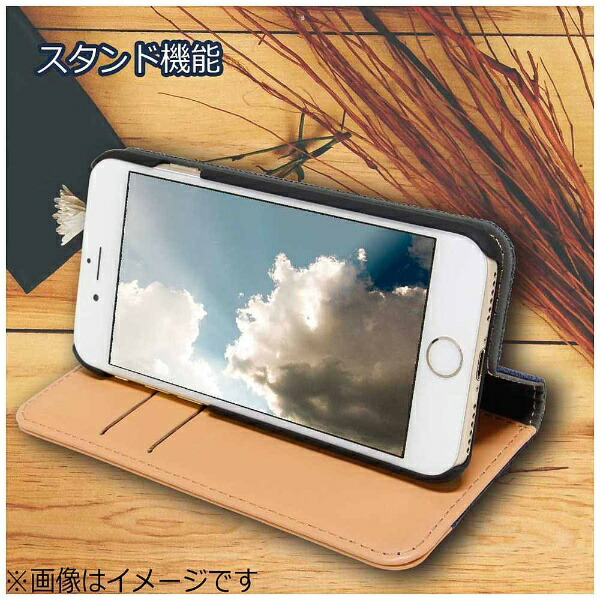 OWLTECHオウルテックiPhone7用gufo手帳型ケースベロ無しキャンバス地xPUカードポケット付スタンド機能ネイビーxキャメルOWL-CVIP719-NVCA