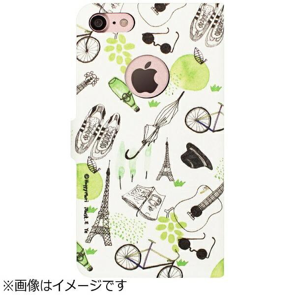 ROAロアiPhone7用手帳型FrenchCafeDiaryグリーンHappymoriHM8241i7