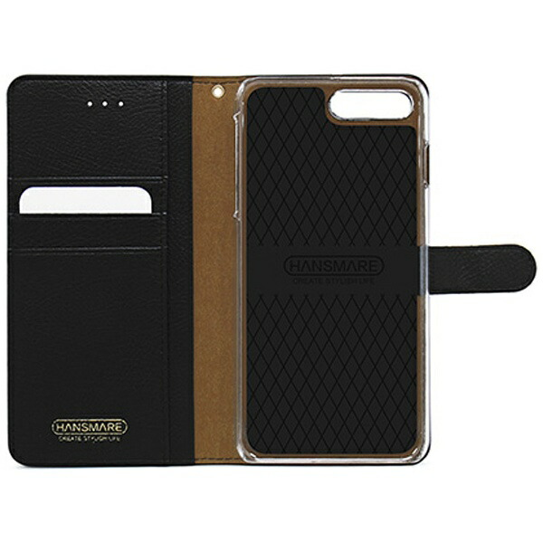 ROAロアiPhone7Plus用手帳型CALFDiaryメタルブラックHANSMAREHAN8267i7P