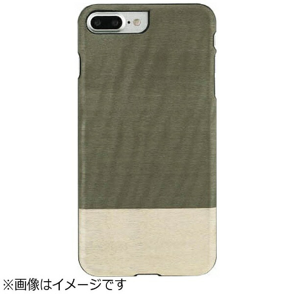 ROAロアiPhone7Plus用天然木ケースEinsteinブラックフレームMan&WoodI8085i7P
