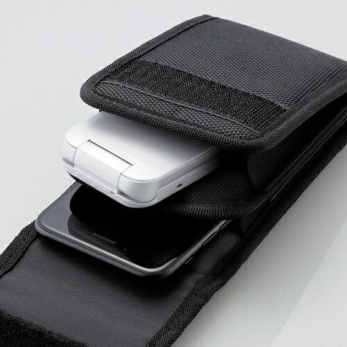 エレコムELECOMスマートフォン用[幅75mm/5.5インチ]キャリングポーチ2気室タイプタフブラックP-02CC2BK