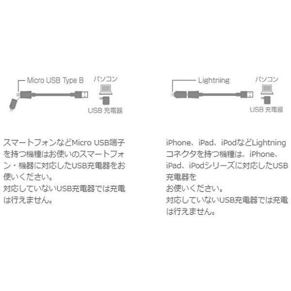 ラディウスradius[microUSB+ライトニング]USBケーブル充電・転送(1m・ブラック)MFi認証AL-ACF92K[1.0m]